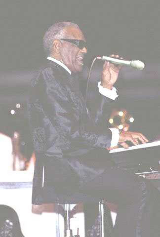 ray charles with the microphone round the wrong way